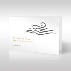 """Mohandas Karamchand Gandhi war ein indischer Rechtsanwalt sowie politischer und geistiger Anführer der indischen Unabhängigkeitsbewegung im 20. Jahrhundert. Er schrieb den trostreichen Spruch """"Wer einen Fluss überquert, muss die eine Seite verlassen"""". Auf dieser querformatigen Trauerkarte ist dieser Spruch in einer eleganten goldenen Schrift linksbündig gesetzt, """"Mahatma Gandhi"""" ist in Großbuchstaben in Grau gesetzt. https://www.design-trauerkarten.de/produkt/wellen-des-meeres/"""