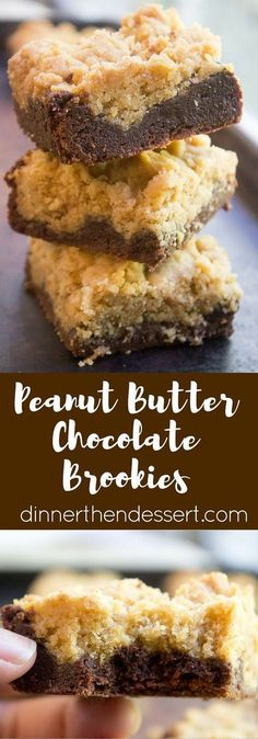 Peanut Butter Chocolate Brookies are an indulgent combo of rich Peanut Butter Cookies and chocolate brownies for the perfect chocolate peanut butter bite!