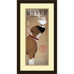 Boxer Coffee Co by Ryan Fowler would make a great gift for the cool canine and  coffee connoisseur.<br><br><ul><li>Artist: Ryan Fowler</li><li>Title: Boxer Coffee Co. v.2</li><li>Product type: Framed ...
