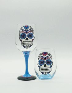 Blue Sugar Skull Hand Painted Wine Glass Stemmed or Stemless