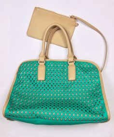 Designer: Shiraleah. Laser cut green vegan leather with beige trim, handbag. Small connected purse/pouch. Such a cute bag! Vegan Leather. NWOT - No major flaws found. Normal signs of wear for pre-worn item.   eBay!
