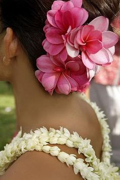 Pink Plumeria flower cluster adorning the hair & the very fragrant Pikake (aka Jasmine) leis! A tradition in beautiful Hawaii.Complete the tropical look! Hibiscus, Hawaiian Flowers, Tropical Flowers, Exotic Flowers, Hawaiian Hair, Hawaiian Girls, Hawaiian Dancers, Fresh Flowers, Purple Flowers