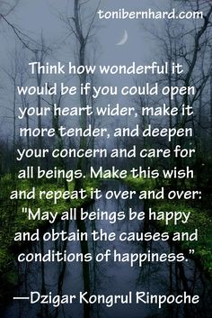 """""""May all beings be happy and obtain the causes and conditions for happiness."""""""