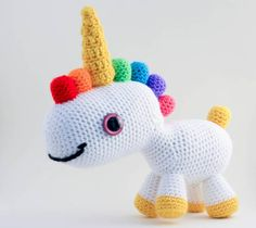 Kind of weird looking, but cute, crocheted unicorn amigurumi