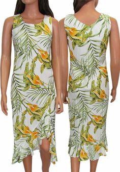 b809304db3b Tropical Style Hawaiian Dress. Love the design and colors of this dress!  Asymmetric hem