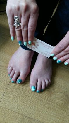 Mint green and pearl green  matching nails and toes #prettyandpolishednailsbybecky