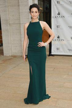 Emmy Rossum in a floor-length green Lanvin gown