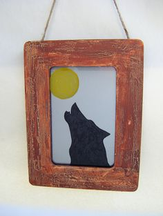 Howling Wolf and Moon Antiqued Mirror in by BusterJustis on Etsy