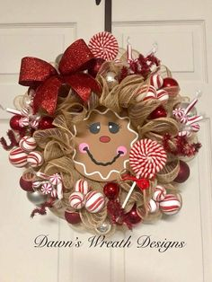 Learn how to create Easy Dollar Store Christmas Decorations with these amazing gingerbread house decor ideas that will add lots of festive cheer to your home! Wreath Crafts, Diy Wreath, Christmas Crafts, Tulle Wreath, Snowman Wreath, Burlap Wreaths, Wreath Making, Snowman Crafts, Wreath Ideas
