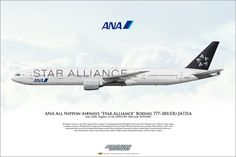 https://flic.kr/p/M35rpS | ANA All Nippon Airways Star Alliance Boeing 777-381ER JA731A Aircraft Profile Art | Airliners Illustrated® by Nick Knapp©. www.AirlinersIllustrated.com