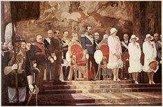 la famillia real en la Exposición Iberoamericana de Sevilla. Pintor: Alfonso Grosso
