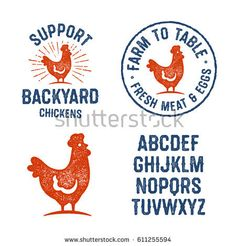 Set of Textured Hen Badges, Emblems, Logos and Design Elements. Used Hand Lettered Typeface is Included. Farm To Table Fresh Meat ans Eggs. Vintage Aged Yummy Look. Chicken Brands, Chicken Logo, Hand Drawn Logo, Hand Lettering, Egg Logo, Chicken Illustration, Farm Logo, Logo Food, Coq