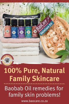 It's every mom's natural care-kit for family skin problems! Containing 5 natural, multi-tasking baobab remedies this care-kit can help with the skin conditions you or your family may be struggling with. It is a great gift to give to a mom-to-be or a friend looking for an all-in-one natural solution for family skin problems. #baocareskincare #baobabremedies #baobaboil #naturalcare Baobab Oil, Natural Solutions, Skin Problems, Healthy Tips, Remedies, Conditioner, Skin Care, Kit, Pure Products