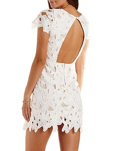 Open Back Bodycon Lace Dress: Charlotte Russe #dress #bodycon #lace #backless