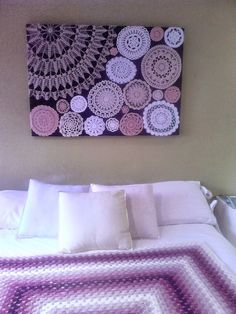This one is less a tutorial and more a picture I found on pinterest that looked cool. Really love the crochet artwork! And I'm fairly certain we've shared some
