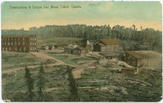 An image of a hand-coloured postcard showing the Temiskaming Mines, Cobalt, ca. 1905