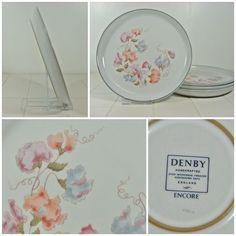 4 x Denby Encore Dinner Plates 26cm - Vintage Large Pottery Sweet Pea FREE P&P