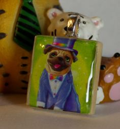 Lisa Frank Pug with Top hat Scrabble Tile Pendant by GreyGyrl, $6.00