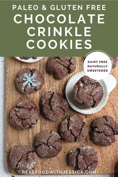 These Paleo Chocolate Crinkle Cookies are rich, thick and so delicious! Gluten free, dairy free, and naturally sweetened. #paleo #crinklecookies #cookies #glutenfree #healthy #easyrecipe #dairyfree | realfoodwithjessica.com @realfoodwithjessica Dairy Free Cookies, Paleo Cookies, Healthy Cookie Recipes, Dairy Free Recipes, Paleo Recipes, Real Food Recipes, Cooking Cookies, Delicious Recipes, Healthy Snacks