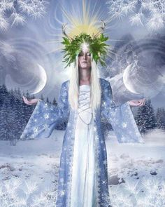 Our Solstice /Yule Card for 2011 With thanks to: Model - [link] You are a Goddess! Winter Scene - Winter scene - [link] Thank you for your generosity an. Winter Goddess, Symbole Viking, Sacred Feminine, Divine Feminine, Sabbats, Moon Goddess, Celtic Goddess, Winter Solstice, Gods And Goddesses