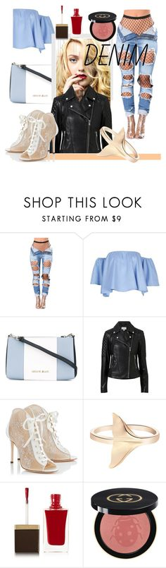 """Tear it Up: Distressed Denim"" by kari-c ❤ liked on Polyvore featuring Armani Jeans, Witchery, Jimmy Choo, Tom Ford, Gucci and distresseddenim"