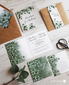 Roślinne zaproszenia ślubne w stylu botanicznym. Zaproszenia z graficznymi motywami różnych gatunków roślin, rysowanymi zielonymi liśćmi, motywami kwiatowymi. Utrzymane w stylu miejskiej dżungli, bogactwo świata roślin przeniesione zostało na elementy papeterii ślubnej. Cheap Wedding Invitations, Floral Wedding Invitations, Wedding Invitation Templates, Wedding Stationery, Invitation Cards, Invites, Wedding Save The Dates, Save The Date Cards, Wedding Signs