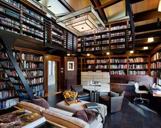 Internal Home Design: rustic industrial living room - Arbeitszimmer Home Library Rooms, Home Library Design, Home Libraries, Loft Design, Home Office Design, House Rooms, House Design, Industrial Living, Rustic Industrial
