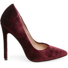 Steve Madden Women's Wicket Stilettos Pumps ($90) ❤ liked on Polyvore featuring shoes, pumps, burgundy velvet, high heel pumps, high heel shoes, stiletto pumps, burgundy pumps and pointed toe stilettos