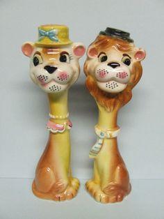 HTF Vintage Lion (Cat) Couple w/LONG Necks & Hats Salt & Pepper (Japan/ #4659)