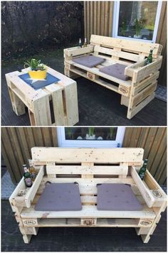 Canapé de jardin fait de palettes: Les meubles de palettes peuvent également être super … Gartensofa aus Paletten: Das Palettenmöbel kann auch super auf dem Balkon zum sitzen genutzt werden // balcon and garden ideas: wooden couch made from pallets, palle Pallet Garden Furniture, Outdoor Furniture Plans, Outside Furniture, Diy Furniture, Balcony Furniture, Garden Pallet, Furniture From Pallets, Palette Furniture, Diy Garden