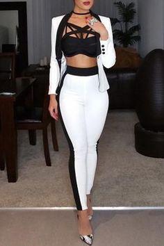 Roaso Long Sleeves Black-white  Two-piece Pants Set - ROASO - 1