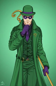 """The Riddler"" sponsored by an anonymous backer for Roysovitch's project. Character belongs to DC Comics. The Riddler Enhanced) commission The Riddler, Riddler Gotham, Batman Arkham, Batgirl, Catwoman, Batman Tattoo, Harley Quinn, Best Villains, Gotham Villains"