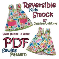 Reversible Kids Smock Apron PDF Sewing Pattern by JasmineArtWorks, $4.90