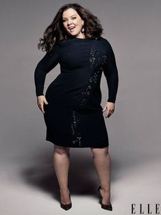 """ELLE July 2016 cover star Melissa McCarthy on fighting for the characters she plays, interviewed by Brian Atwood: Brian Atwood: """"You're having a ball. What is it about your comedy that makes people really get it?"""" Melissa McCarthy: """"I get so. Curvy Fashion, Plus Size Fashion, Girl Fashion, Fashion Heels, Melissa Mccarthy, Plus Size Dresses, Plus Size Outfits, Moda Feminina Plus Size, Versace Dress"""