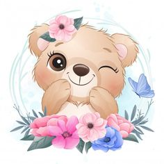 Baby Animal Drawings, Cute Cartoon Drawings, Cute Images, Cute Pictures, Art Mignon, Watercolor Flower Background, Cute Bears, Floral Illustrations, Cute Baby Animals