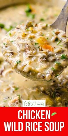 Chicken Wild Rice Soup is made without heavy cream, flour or butter in your slow cooker, Instant Pot or on the stove. It is easy, creamy, low fat and simply the best healthy comfort food in a bowl! Healthy One Pot Meals, Vegetable Soup Healthy, Healthy Comfort Food, Healthy Soup, Simple Meals, Chicken Wild Rice Soup, Chicken Soup Recipes, Easy Soup Recipes, Dinner Recipes