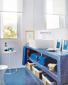 Blue hexagon tile bathroom floor kids bathroom penny