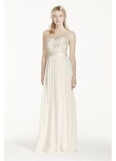 Illusion Tank Chiffon Wedding Dress with Lace  MK3747 David's Bridal