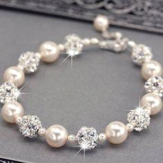 Swarovski Pearl and Rhinestone Bridal Bracelet - Roxys Jewelry Boutique