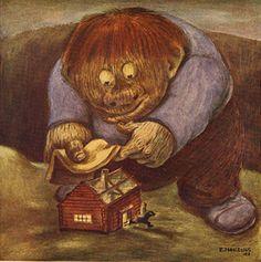 By Einar Norelius from BLAND TOMTAR OCH TROLL 1948 John Bauer, Elves, Troll, Gnomes, Illustration Art, Teddy Bear, Fantasy, Illustrator, Painting