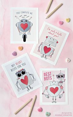 Free printable robot Valentine's Day cards by Hooray Creative #freebies #valentines