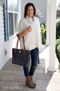 26 Days of Fall Outfits: Ivory Poncho + Destructed Skinny Jeans + Mushroom Suede Booties