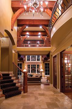 Beams and open entry. Gorgeous! [ Wainscotingamerica.com ] #foyer #wainscoting #design