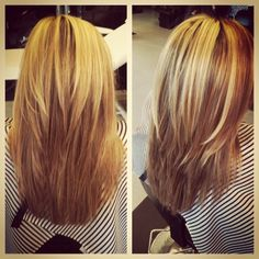 Short layers on long hair.