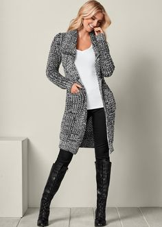 A chunky cardigan that is perfect for fall.