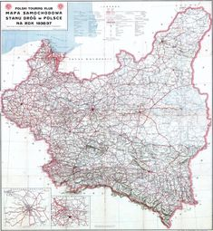 Road map of the state of roads in Poland in Poland Map, Fantasy Map, Old Maps, European History, Historical Maps, Eastern Europe, Family History, Cyberpunk, Coloring Pages