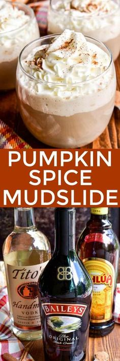 Fall is the time for all things pumpkin spice.and this Pumpkin Spice Mudslide is about to become your new favorite! This drink combines all the flavors of the classic mudslide cocktail with a pumpkin spice twist. Christmas Drinks, Holiday Drinks, Fun Drinks, Yummy Drinks, Yummy Food, Tasty, Alcoholic Drinks, Mixed Drinks, Winter Drinks