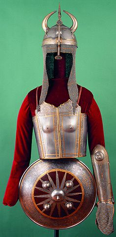 Persian armor, khula-khud (helmet), char-aina (chahar-aina, chahar a'ineh), literally the four mirrors, bazu band (vambrace/arm guards), sipar (shield), attributed to Shah Solaymān I (1666-94), probably made in Isfahan in 1680. For centuries Polish aristocratic families have had examples of Persian weaponry in their personal collections that were transformed only in the 19th century into museum-type collections, later often donated to museums.The National Museum in Krakow.