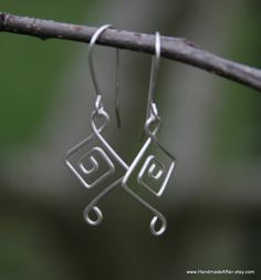 Items similar to Unique Bridal Party Jewelry, Geometic Earrings, Sterling Silver, 6 Bridesmaids on Etsy
