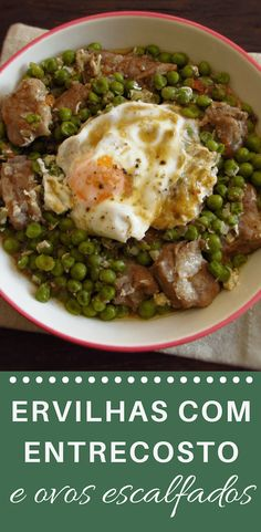 This recipe is perfect for a family Sunday lunch! Peas cooked with spare ribs and poached eggs. It's a delicious recipe that the whole family will enjoy. Portuguese Recipes, Portuguese Food, Good Food, Yummy Food, Spare Ribs, Latest Recipe, Poached Eggs, Egg Recipes, Food And Drink